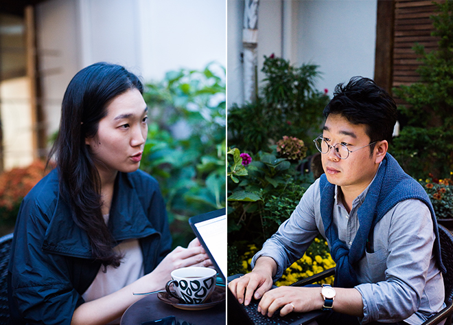 ▲ Artistic director Song Haein (left) and the author (right) © Lee Kang-hyeok